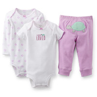"Carter's Girls 3 Piece ""I Am Loved"" Purple Turtle Set with Short Sleeve Bodysuit, Long Sleeve Bodysuit, and Pant Set"