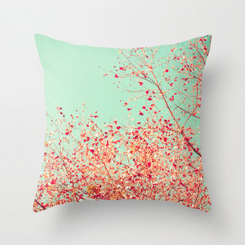 Pillow Cover, Coral Pillow, Turquoise Pillow, aqua pillow, mint pillow, pink pillow, fall pillow, nursery art, nursery decor, pillows
