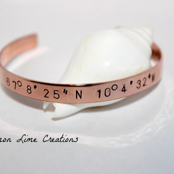 Coordinate Cuff - Personalized Bracelet - Coordinate Cuff - Wedding Jewelry - Birthplace Jewelry - Mothers Jewelry -
