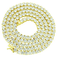 """Tennis Link Necklace Simulated Diamond 24"""" Chain 4mm XmasDeal"""
