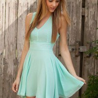 LOVE Aqua Chiffon Cross Back Dress - Love