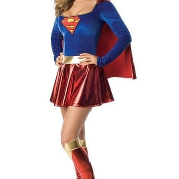 Classic game the superman costume role-playing Halloween party dress superman uniform temptation (Size: M) = 1931532036