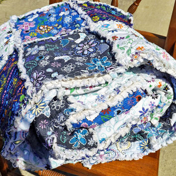 Twin Size Rag Quilt, Blue and White, Girl's Bedroom
