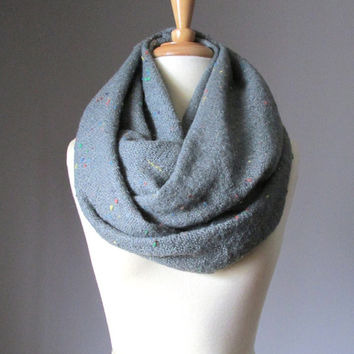 Chunky winter scarf, speckled Grey scarf, winter scarf, Wool look scarf
