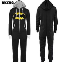 HKSNG High Quality New Batman Superman Adult Onesuit Pajamas Plus Size Hooded Sleepsuit Sleepwear Cosplay For Party