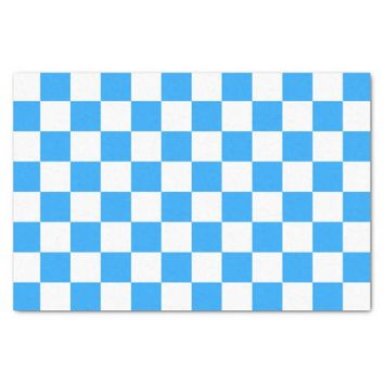 Sky Blue and White Checkerboard Pattern Tissue Paper