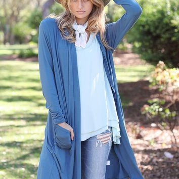 Midnight Teal PIKO Slouchy Cardigan