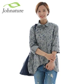 Johnature 2017 New Women Shirt Cotton Linen Button White Blue Floral Turn-down Collar Irregular Plus Size Solid Loose Blouse