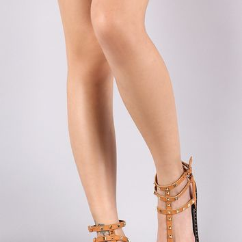 Qupid Studded Strappy Gladiator Flat Sandal