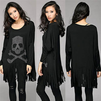 Punk Rock loose tassel tops batwing long sleeve skull heads print women T shirt fashion Europe Fashion casual style Hot Selling