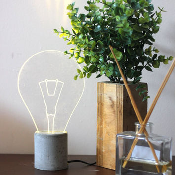 Exposed Bulb Concrete Lamp