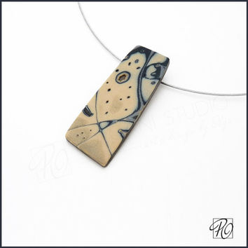 Pendant Necklace Polymer Clay - Sands Of Time - Art Jewelry - Colored Dreams Sand Ivory Gold Silver Black. Ready to ship