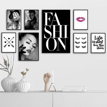 COLORFULBOY Modern Girl Love Fashion Makeup Wall Art Print Canvas Painting Poster Pop Art Wall Pictures For Living Room Decor