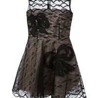 Red Valentino bow embroidered sheer dress
