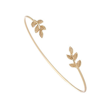 New Fashion Gold and Silver Plated Leaf Bracelet Bangles for Women Simple Leaf Open Cuff Bangles  EY-G003