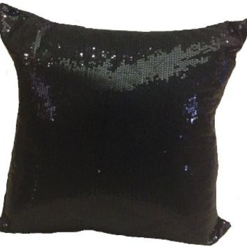 Decorative Sequins Throw Pillow 17x17'' Black