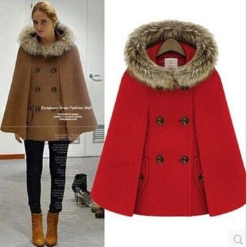 2016 Hot Womens Girl Faux Fur Shawl Wool Hooded Poncho Batwing  Cape Coat Winter Jacket Cloak Poncho