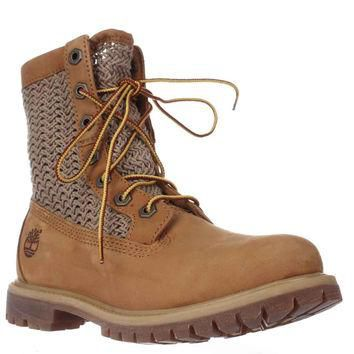 Timberland Auth Open Weave Mid-Calf Perforated Boots, Wheat, 6 US / 37 EU