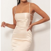 Party dresses > Lulu Satin Lace-up Dress in Champagne
