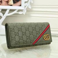 Perfect Gucci Women Leather Buckle Wallet Purse