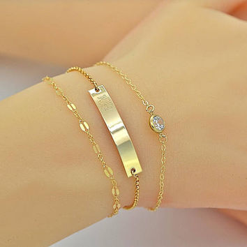 Delicate Layering Bracelet, Bar Bracelet, Personalized Gift, Dainty Cz Diamond, Gold Chain,Friendschip Bracelet