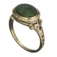 1930's 14K Gold with Intaglio Warrior Head Ring::Antique Jewelry::Jewelry::Alexis Bittar