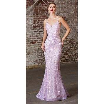 Long Fitted Sequin Print Gown Lilac Iridescent Pattern Sheer Illusion Sides
