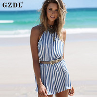 Striped Sleeveless Backless Summer Dresses Club Party Beachwear Dress