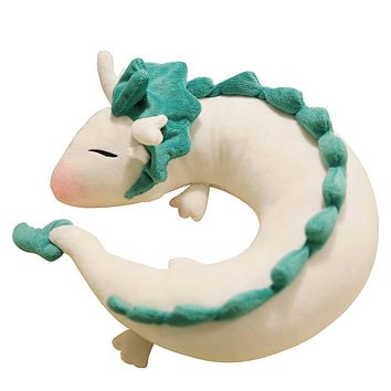 28cm Miyazaki Hayao Neck protection office sleeping Pillow Plush Toy Spirited Away Haku Cute Doll Stuffed for Children gift