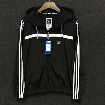 Adidas Fashion Stripe Casual Drawstring Long Sleeve Cardigan Jacket Coat Windbreaker