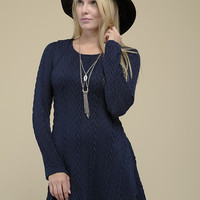 Crisp Air Sweater Dress - Navy