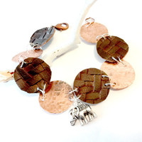Elephant Bracelet, Copper and Leather Link Charm Bracelet, Hammered Copper Jewelry