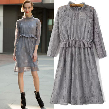 Women's Fashion Spaghetti Strap Lace Long Sleeve Dress One Piece Dress [4919441220]