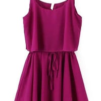Purple Strappy Ruffle Chiffon Mini Dress