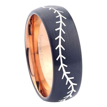 8mm Baseball Dome Tungsten Carbide Rose Gold Mens Ring Engraved