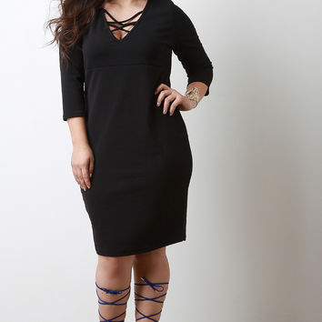 Crisscross V-Neck Quarter Sleeves Midi Dress