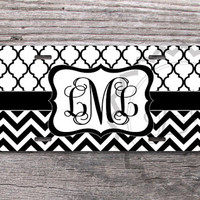 Monogrammed License Plate - Black and White chevron and Moroccan pattern, custom name or monogram, personalized front license plate - 328