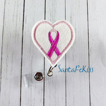 Pink Ribbon Breast Cancer Awareness Badge Reel - Embroidered Felt Badge Reel w Retractable Badge Holder - Designer Lanyard - Medical Badge