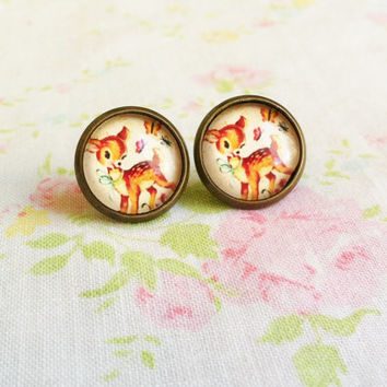 Vintage Style Deer Earrings, Retro Earrings, Pinup girl Earrings, Bambi Earrings