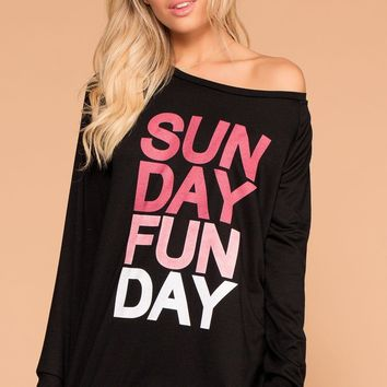 Sunday Funday Black Sweatshirt Top