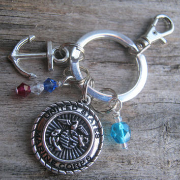 Marine Corps Keychain, Marines Zipper Pull, Sailor Keychain, Military Personalized Accessory, USMC Keychain, Jarhead, Armed Force, Patriotic
