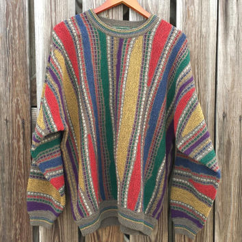 Vintage Men's Textured Sweater - Ugly Cosby Sweater - Unisex Sweater - SZ XL