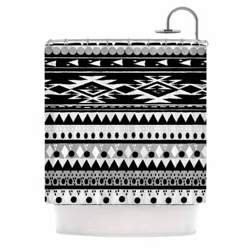 "Nika Martinez ""Black Hurit"" Gray White Shower Curtain"