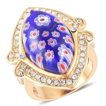 Millefiori Glass, Austrian Crystal Stainless Steel Ring