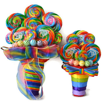 Rainbow Lollipop Bridesmaid Bouquet, Maid of Honor Bouquet, Rainbow Bouquet, Wedding, Rainbow, Candy Bouquet, Lollipop Bouquet