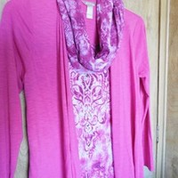 WHITE STAG Pink & White Jacket Top + Infinity Scarf Size 4-6 Small