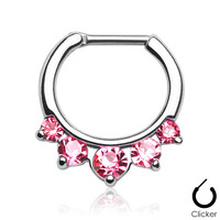 5 Pronged Pink Gem Septum Clicker