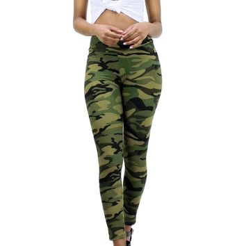 Workout Camo High Waist Skinny Leg Pull Over Leggings Pants