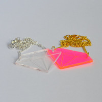 Bright fluorescent neon pink laser cut acrylic diamond pendant necklace on delicate curb chain