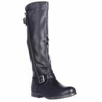 Material Girl Larisa Flat Riding Boots - Black